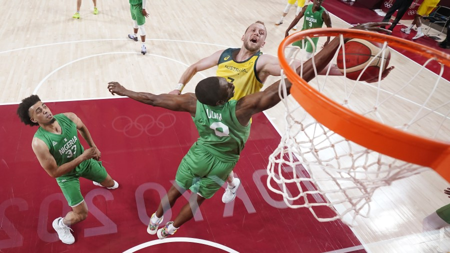 Joe Ingles with the Australian National Team attacks the rim against Nigeria (Photo by Eric Gay - Pool/Getty Images)